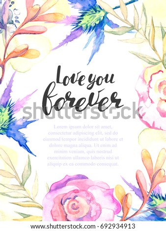 Watercolor romantic greeting card watercolor frame stock watercolor romantic greeting card watercolor frame of colorful flowers herbs design for greeting m4hsunfo