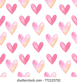 Watercolor romanticl seamless pattern, repeating hand drawn background. Design for textile, wrapping paper, Valentines day cards, wedding. Illustration of hearts.