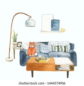 Watercolor room illustration with cat isolated on a white background. Scandinavian design. Hygge. Cute character design, perfect for book illustration and postcard design