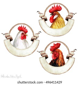 Watercolor Rooster Labels, Isolated