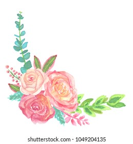 Watercolor Rose Flower Arrangement