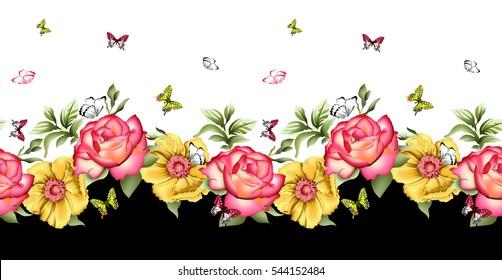 Watercolor rose Flower pattern