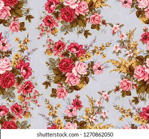 Watercolor rose Flower pattern on grey background