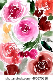 Watercolor rose illustration hand drawn abstract  pattern