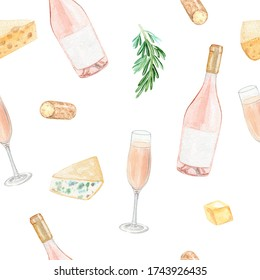 watercolor rose wine bottle and cheese seamless pattern on white background. Restaurant wallpaper, menu design, fabric, winery print, napkins image