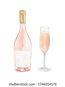 watercolor rose wine bottle and glass set isolated on white background for bar menu design, restaurant decoration, poster, alcohol beverage  print