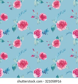 Watercolor roses and branches seamless pattern. Shabby chic natural wallpaper design with flowers, leaves and floral elements. Hand painted repeating texture