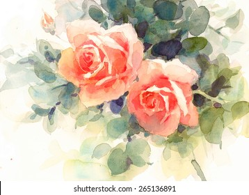 Watercolor Roses Floral Background Texture Hand Painted Illustration