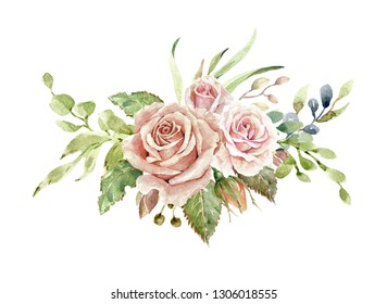 Watercolor roses, watercolor flower bouquet, floral illustration,Leaf and buds, Botanic composition layer path, clipping path isolated on white background for wedding greeting card. Branch of flower