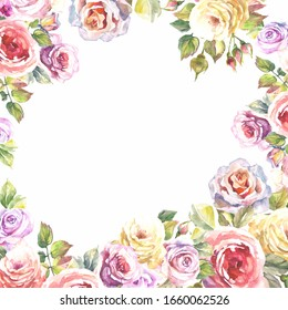 watercolor roses frame.colorful flowers frame.