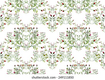 Watercolor roses pattern on white background
