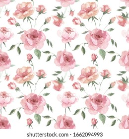 Watercolor roses pattern. Seamless print with pink flowers for fabric, paper or wallpaper.