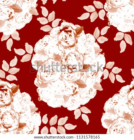 Royalty Free Stock Illustration of Watercolor Roses Seamless Pattern
