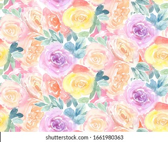 Watercolor Roses seamless pattern. Vibrant floral background. Botanical hand drawn illustration. Colourful flowers and leaves on white for wedding, surface, textile, wallpaper design