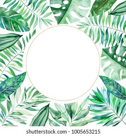 Watercolor round frame border.Texture with greens,branch,leaves,tropical leaves,foliage,bamboo.Perfect for wedding,invitations,greeting cards,quotes,pattern,logos,Birthday cards,lettering etc