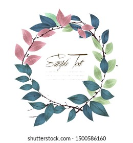 Watercolor round wreath of colored leaf twigs with copy space over white background