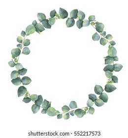Watercolor round wreath with silver dollar eucalyptus. Healing Herbs for cards, wedding invitation, posters, save the date or greeting design. Summer flowers with space for your text.