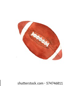 Watercolor rugby ball, hand drawn sketch