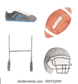 Watercolor rugby set. Boots, ball, goal and helmet, painted on white background