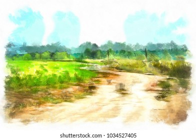Watercolor rural landscape, road through the field, on a hot Sunny summer day, around only planted fields and far away forest