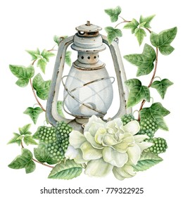 Watercolor rustic white lantern with green leaves and white gardenia.