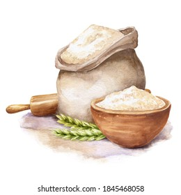 Watercolor rye flour on white background. Watercolour food illustration.