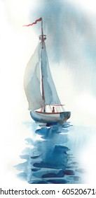 Watercolor sail boat