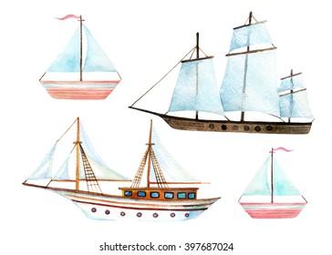 Watercolor sailing ships set isolated on white background. Hand painted marine transport illustration. Travel elements