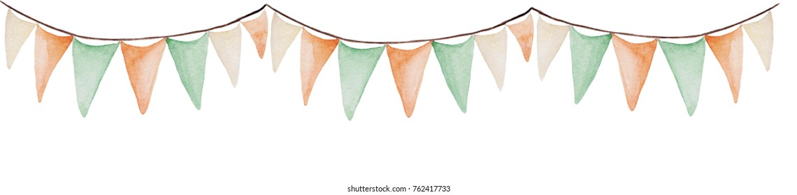 Watercolor Saint Patrick's Day banner. Flags ornament. For design, print or background.