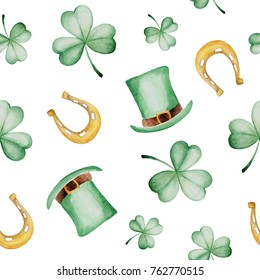 Watercolor Saint Patrick's Day pattern with horseshoe and hat. Clover ornament. For design, print or background.