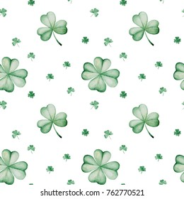 Watercolor Saint Patrick's Day pattern. Clover ornament. For design, print or background.