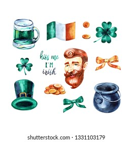 Watercolor Saint Patrick's Day set. Hand drawn artistic objects: leprechaun, clover shamrock, hat, pot of gold, rainbow, horseshoe. Cartoon holiday elements