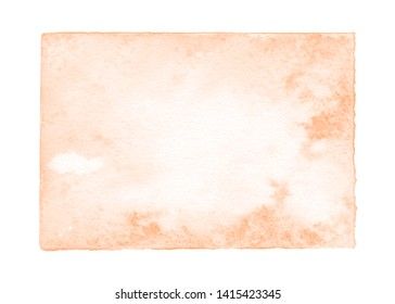 Watercolor salmon background with abstract hand painted cumulus textures. Amber and rose color textured painting with fluid paint splash. Romantic natural art decoration. Beauty design concept.