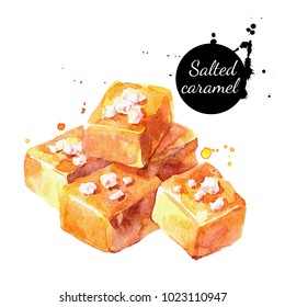 Watercolor salted caramel illustration. Painted isolated delicious food white background
