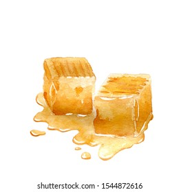 Watercolor salted caramel with toffee fravor. Chewy confectionery isolated on white.