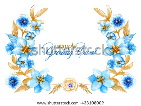 Watercolor sample greeting card light blue stock illustration watercolor sample greeting card with light blue flowers and light brown leaves can be used m4hsunfo