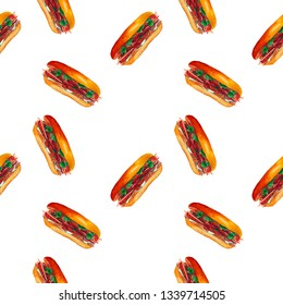 Watercolor sandwich seamless pattern, isolated on white background. Vietnamese crusty fast food banh mi. Hand drawn asian snack with bread, meat, cilantro, cucumber, carrot, pepper.