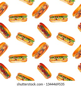 Watercolor sandwich seamless pattern, isolated on white background. Vietnamese crusty fast food banh mi. Hand drawn asian snack with bread, meat, meatballs, cilantro, tofu, cucumber, carrot, pepper.