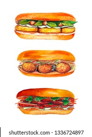 Watercolor sandwich set isolated on white background. Vietnamese crusty fast food banh mi. Hand drawn asian snack with bread, meat, carrot, cucumber, cilantro, tofu, fried fish, basil.