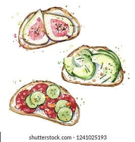Watercolor sandwiches, hand painted snacks