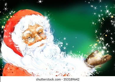 Watercolor Santa Claus. Merry christmas and happy New Year background.