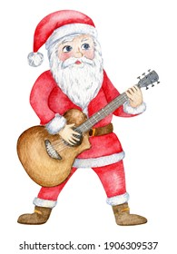 Watercolor santa claus playing guitar. Hand drawn childish illustration isolated on white background