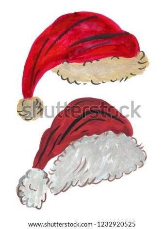 b5443dab9b4c1 Watercolor Santa Claus red hat Hand painted christmas illustration isolated  on white background for design background