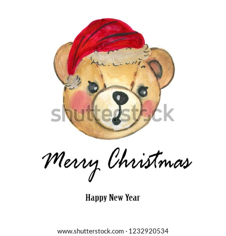 90b7a61910518 Watercolor Santa Claus red hat Teddy Bear Hand painted christmas  illustration isolated on white background for