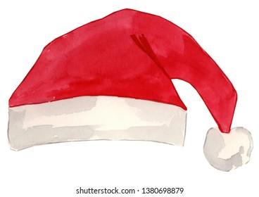 Watercolor Santa's Hat Illustration