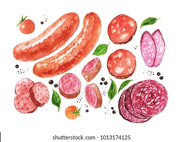 Watercolor sausages and salami, spice, tomatoes isolated on a white