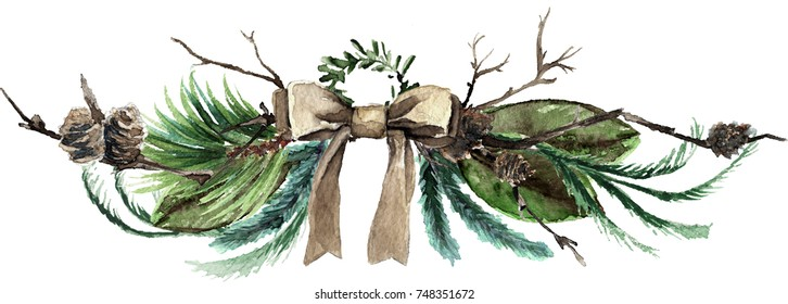 Watercolor Scandinavian Christmas Composition. Hand drawn winter decoration. Magnolia leaves, spruce, eucalyptus and pinecones bouquet decorated with a canvas bow.