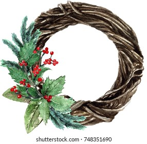 Watercolor Scandinavian Christmas wicker Wreath. Hand drawn winter decoration. Magnolia leaves, spruce, twigs, eucalyptus and holly bouquet. Round winter floral frame.