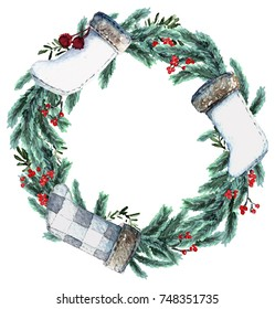 Watercolor Scandinavian Christmas Wreath. Hand drawn winter decoration. Spruce and holly bouquet, decorated with christmas socks. Round winter floral frame.