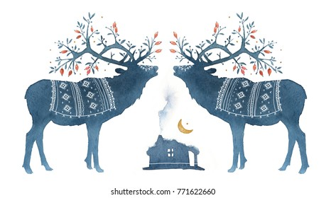 Watercolor Scandinavian elements. Reindeer, forest house, wild berries, branches, moss, crescent, deer, horns, national ornament.